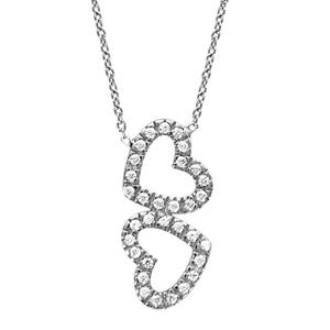 Image of Collier argent rhodié double coeur contour oxydes sertis 41cm