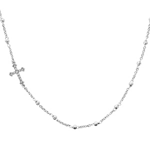 1001 Bijoux - Collier argent rhodié chaînette et boules avec croix couchée 45cm pas cher