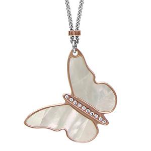 Image of Collier argent rhodié papillon PVD rose et nacre oxydes sertis blancs 41+3cm