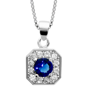 Image of Collier argent rhodié pendentif carré oxydes sertis blancs pierre centrale bleu 42+3cm