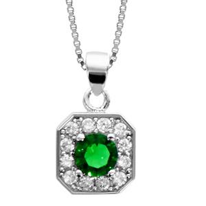 1001 Bijoux - Collier argent rhodié pendentif carré oxydes sertis blancs pierre centrale verte 42+3cm pas cher