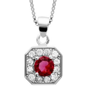 1001 Bijoux - Collier argent rhodié pendentif carré oxydes sertis blancs pierre centrale rouge 42+3cm pas cher