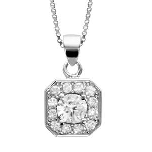 1001 Bijoux - Collier argent rhodié pendentif carré oxydes sertis blancs pierre centrale blanches 42+3cm pas cher