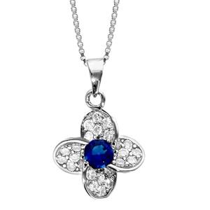 1001 Bijoux - Collier argent rhodié pendentif fleur oxydes sertis blancs pierre centrale bleu 42+3cm pas cher