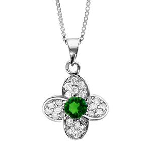 1001 Bijoux - Collier argent rhodié pendentif fleur oxydes sertis blancs pierre centrale verte 42+3cm pas cher