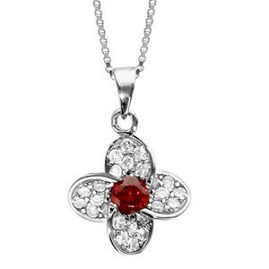 Image of Collier argent rhodié pendentif fleur oxydes sertis blancs pierre centrale rouge 42+3cm