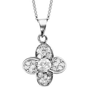 Image of Collier argent rhodié pendentif fleur oxydes sertis blancs et oxyde centrale 42+3cm