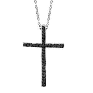 1001 Bijoux - Collier argent rhodié pendentif croix oxydes sertis noirs 42+3cm pas cher