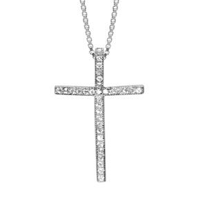 Image of Collier argent rhodié pendentif croix oxydes sertis blancs 42+3cm
