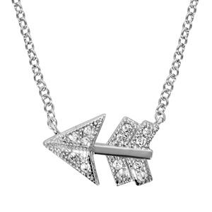 Image of Collier argent rhodié motif flèche oxydes blancs sertis 40+4cm