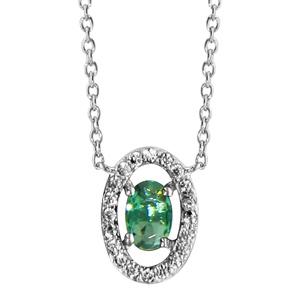 1001 Bijoux - Collier argent rhodié forme ovale verre vert entourage oxydes blancs sertis 40+4cm pas cher