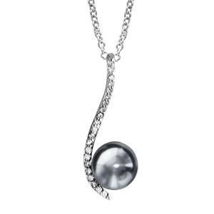 Image of Collier argent rhodié forme vague pave oxydes blancs sertis avec perle d'eau douce grise 40+4cm