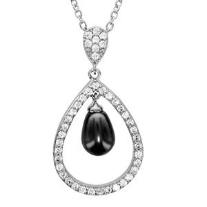 1001 Bijoux - Collier argent rhodié forme goutte évidée avec perle imitation grise 40+4cm pas cher