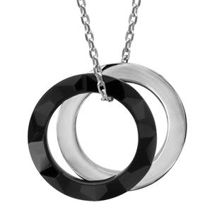 Image of Collier argent rhodié céramique noire 2 anneaux 40+4cm