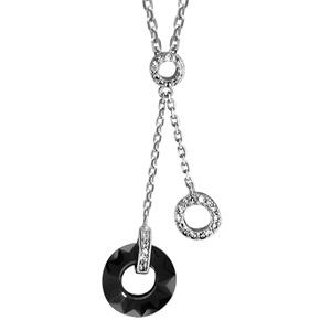 1001 Bijoux - Collier argent rhodié double anneau céramique noire et argent avec oxydes blancs sertis 40+4cm pas cher