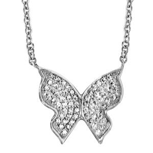 Image of Collier argent rhodié papillon oxydes blancs sertis 40+4cm