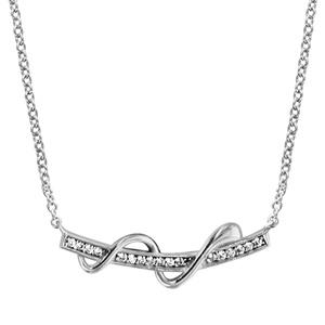 1001 Bijoux - Collier argent rhodié baguette oxydes blancs sertis et serpentin 40+4cm pas cher