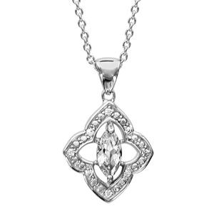 1001 Bijoux - Collier argent rhodié motif fleur oxydes blancs sertis et navette pierre blanche 16+3cm pas cher
