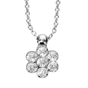 Image of Collier argent rhodié fleur oxydes blancs sertis 40+6cm