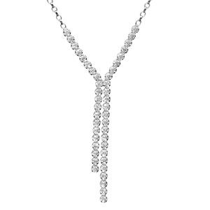 Image of Collier argent rhodié 2 tiges pendantes oxydes blancs sertis 46cm