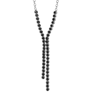 Image of Collier argent rhodié 2 tiges pendantes pierres noires serties 46cm