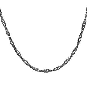 1001 Bijoux - Collier argent maille vrillée rhodium noir 75cm pas cher