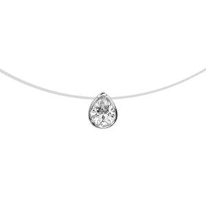 Image of Collier argent rhodié fil nylon forme goutte oxyde blanc 40cm
