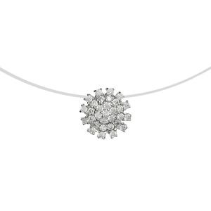 Image of Collier argent rhodié fil nylon forme fleur oxydes blancs 42cm