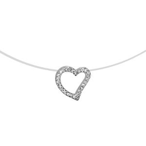 Image of Collier argent rhodié fil nylon coeur ajouré oxydes blancs 42cm
