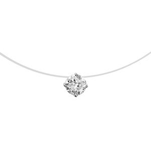 1001 Bijoux - Collier argent rhodié fil nylon solitaire oxyde blanc 7mm 42cm pas cher