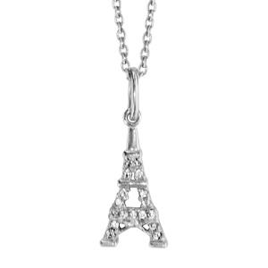 Image of Collier argent rhodié avec pendentif tour Eiffel 41+3cm