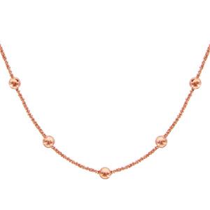 1001 Bijoux - Collier argent maille margherita et boules dorure rose 40+4cm pas cher