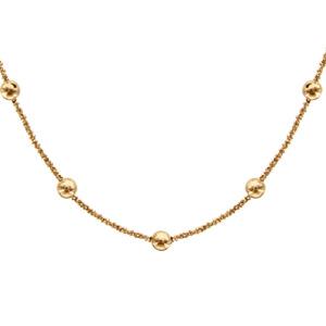 1001 Bijoux - Collier argent maille margherita et boules dorure jaune 40+4cm pas cher
