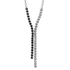 Image of Collier argent rhodié oxydes sertis blancs pointe 2 tiges 1 côté oxydes blancs sertis l'autre pierres noires 46cm