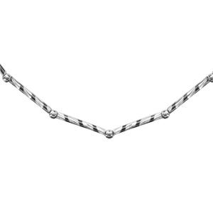 1001 Bijoux - Collier argent rhodié tube strié et boules 42+3cm pas cher