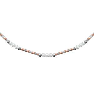 1001 Bijoux - Collier argent rhodié tube strié dorure rose et perles de culture d'eau douce blanches 41+3cm pas cher