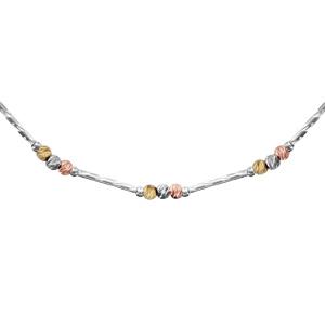 1001 Bijoux - Collier argent rhodié tube strié et boules dorure rose, jaune, grise 42+3cm pas cher