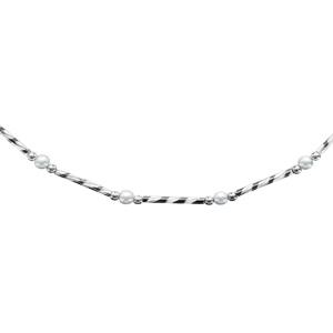 1001 Bijoux - Collier argent rhodié tube strié et perles blanches de culture d'eau douce 41+3cm pas cher
