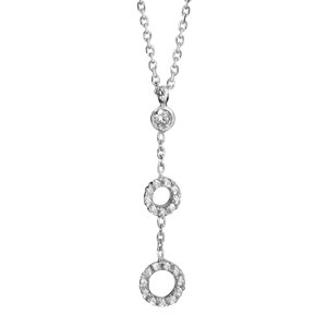 Image of Collier argent rhodié forme Y 2 cercles oxydes sertis blancs 40+4cm