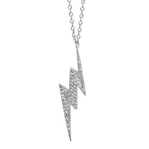 Image of Collier argent rhodié motif éclair oxydes blancs sertis 40+4cm