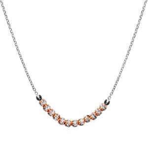 1001 Bijoux - Collier argent rhodié boules diamantées avec dorure rose 40+5cm pas cher