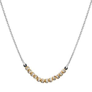 Image of Collier argent rhodié boules diamantés avec dorure jaune 40+5cm