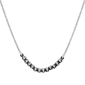 1001 Bijoux - Collier argent rhodié boules diamantées avec rhodium noir 40+5cm pas cher