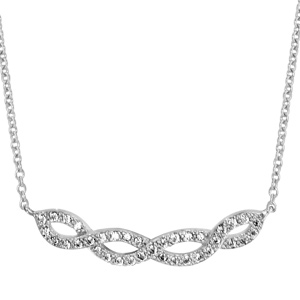 1001 Bijoux - Collier argent rhodié entrelacé oxydes blancs sertis 40+4cm pas cher