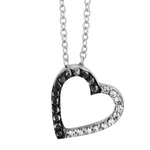 1001 Bijoux - Collier argent rhodié forme coeur évidé moitié oxydes blancs sertis et pierres noires rhodium noir 40+4cm pas cher