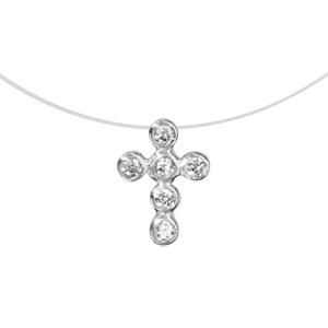 Image of Collier argent rhodié fil nylon croix oxydes blancs serti clos 42cm