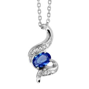 1001 Bijoux - Collier argent rhodié pendentif pierre bleu et oxydes blancs sertis 40+4cm pas cher