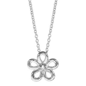 1001 Bijoux - Collier argent rhodié fleur oxyde blanc serti 40+4cm pas cher