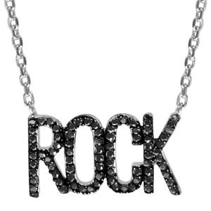 Image of Collier argent rhodié rock oxydes noirs 40+4cm