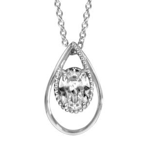 1001 Bijoux - Collier argent rhodié pendentif forme goutte oxyde blanc serti 42+3cm pas cher